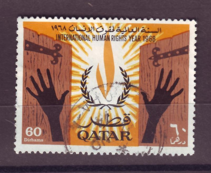 J14982 JLstamps 1968 qatar part of set used #131 human rights