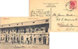Gibraltar 1d KEVII 1909 Gibraltar, 25 PPC (Buena Vista Barracks) to Lexington...
