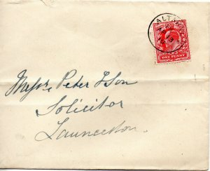 1910 Sg 219 1d scarlet on cover with Altarnun (Cornwall) Single Circle cancel