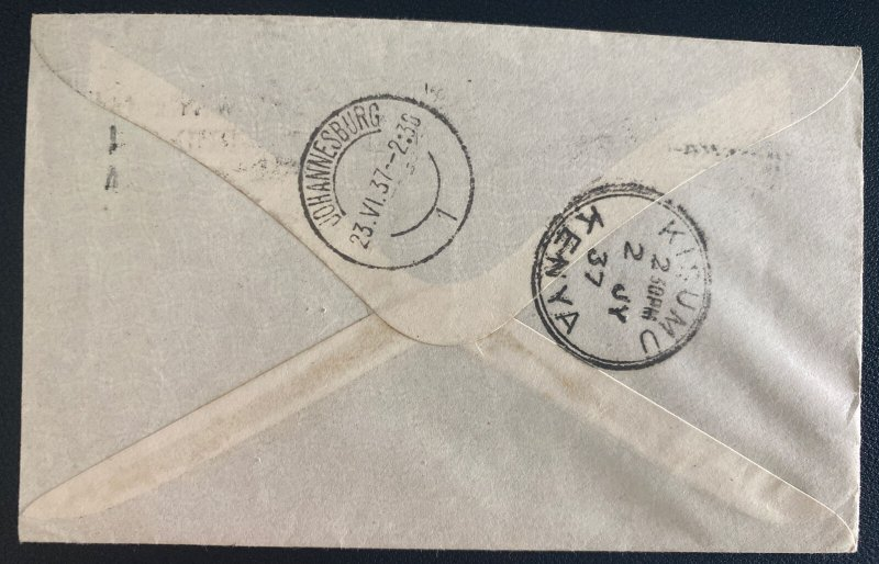 1937 Salisbury Southern Rhodesia First Flight Airmail Cover To Kisumu Kenia