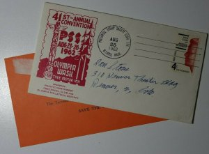 PSS Convention Sta Tyee Motor Inn Olympia WA 1962 Philatelic Expo Cachet Cover
