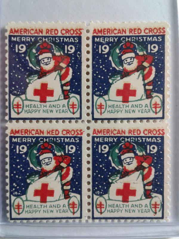 1919 CHRISTMAS SEALS BLOCK OF 4 MINT NEVER HINGED GEMS !! GREAT FIND !!