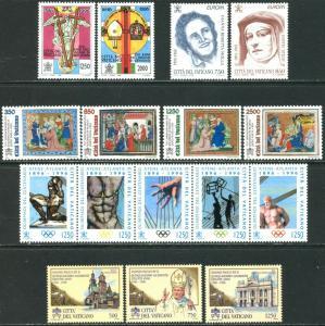 VATICAN Sc#1002-1027 Nine Sets & 1 S/s 1996 Year Complete Mint OG NH