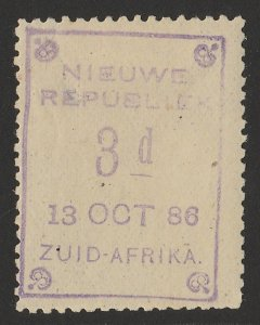 TRANSVAAL - NEW REPUBLIC 1886 (13 Oct) 3d violet on yellow paper.