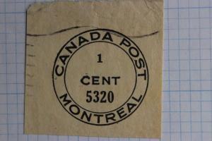 Canada local Montreal postal seal cut square Post Paid permit postage stationery