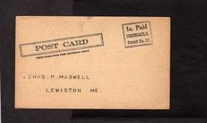 S Obermayer Co Cincinnati Ohio Prepaid 1 Cent Postal Card Fire in Plant