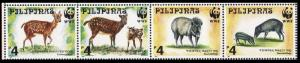 Philippines WWF Spotted Deer and Warty Pig Strip of 4v SG#2992-2995 MI#2814-2817