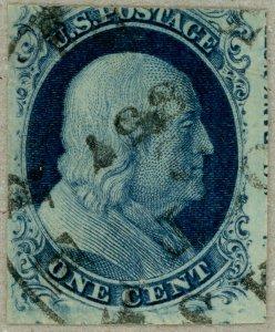US Scott#8A 1851 pos 60R4 plate 4 w/imprint, Lancaster, Pennsylvania cancel