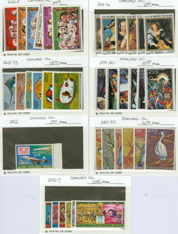 selection Comoros 254-297 MNH mostly complete CV $94.80