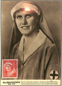 90063 - GERMANY-  MAXIMUM CARD 1952 Elsa BRANDSTORM Medicine RED CROSS Nurse