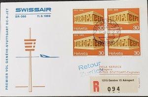 Swissair 1969 Geneva First Flight Sttugart Europa Stamp