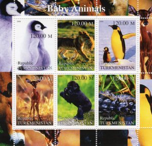 Turkmenistan 2000 PENGUINS-SMALL MONKEY-DEAR BABY ANIMALS Sheetlet (6) MNH
