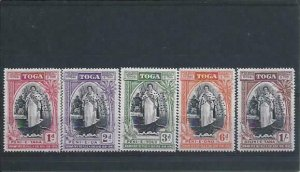 TONGA 1944 JUBILEE SET OF FIVE PERF SPECIMEN MM SG 83s/87s CAT £140
