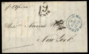 England Britain 1853 New York USA Afrixa Transatlantic Stampless Cover 77672