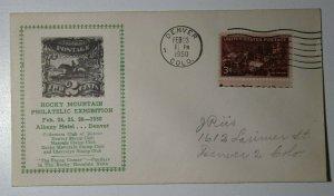 Rocky Mountain Philatelic Exhibition Denver CO 1950 Cachet Cover
