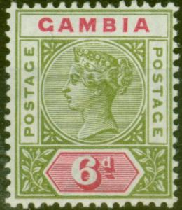 Gambia 1898 6d Olive-Green & Carmine SG43 V.F Very Lightly Mtd Mint