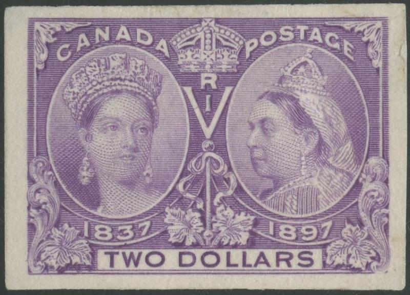 CANADA #62P3 $2 JUBILEE PLATE PROOF ON INDIA XF+ SCARCE HV9925