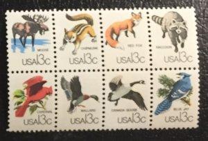 #1757 MNHOG Block of 8 US 13c Animals / CAPEX