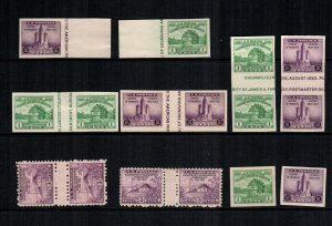 United States 752 766 767 MNH Cat $40.00 gutters lines