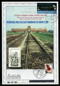 ISRAEL 2008 INT'L HOLOCAUST REMEMBRANCE DAY OVP'T english LEAF 1/30 ISRAEL STAMP