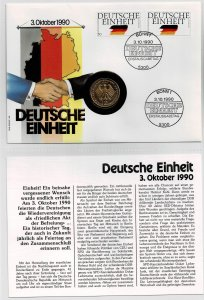 Germany 1990, German unity , coin cover