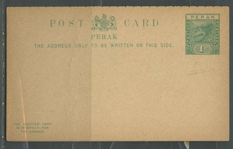 MALAYA PERAK 1C GREEN TIGER AND ARMS MINT POSTAL STATIONERY DOUBLE CARD AS SHOWN