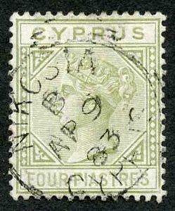 CYPRUS SG14 1881 4pi pale olive-green wmk CC CDS used
