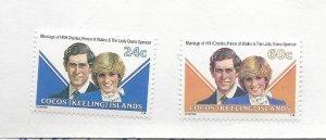 Cocos Islands, 73-74, Royal Wedding 1981 Singles, MNH