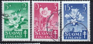 Finland 1950 Flora - Tuberculosis Fund Complete Used Set SC B101-103