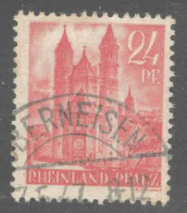 Germany Rhineland Palantine Scott 6N8 Used Cathedral at Worms 1947