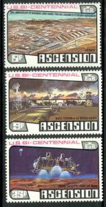 ASCENSION 1976 US BICENTENNIAL / SPACE Set Sc 215-217 MNH