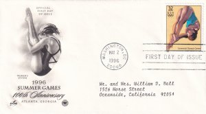 1996, Centennial Summer Games-Women's Diving, Art Craft/PCS, FDC (E11354)