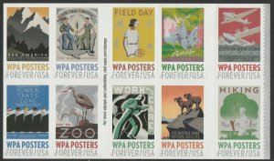 US 5180-5189 5189a WPA Posters forever block set (10 stamps) MNH 2017