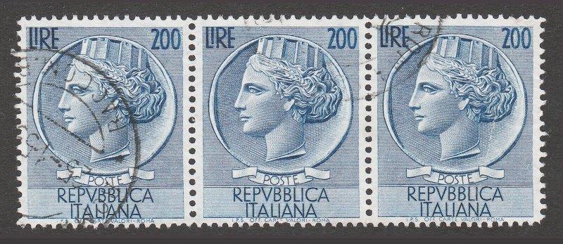 ITALY USED STAMPS SCOTT #662 1954 REPVBBLICA ITALIANA 200 LIRE STRIP OF 3