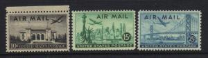 US 1947 Plane over Cities Set Scott C34-C36 3 Stamps MNH