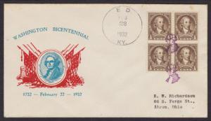 US Sc 704 Block on 1932 Washington Fancy Cancel Cover of Ed, Kentucky