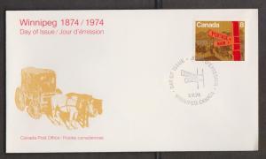 CANADA Scott # 633 On FDC - 1974 Centennial Of Winnipeg Issue