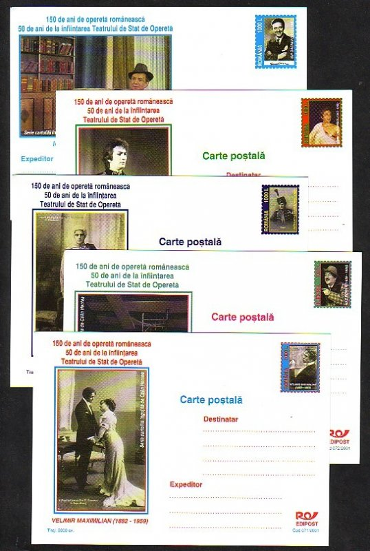 Romania, 2001 issue. 071-075/2001. Operettas on 5 Postal Cards.^
