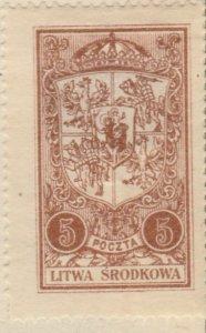 Central Lithuania Mittellitauen Lituanie Lituania 1921 5m MH* A8P11F123