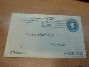 Costa Rica PSE 10c 1908 to Hamburg Germany