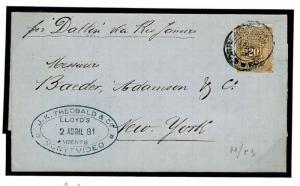 F250b Uruguay Insurance 1881 Lloyds Cover {samwells}