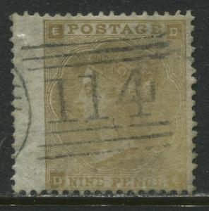Nice 1862 9d straw DE with choice Scots Dundee numeral 114