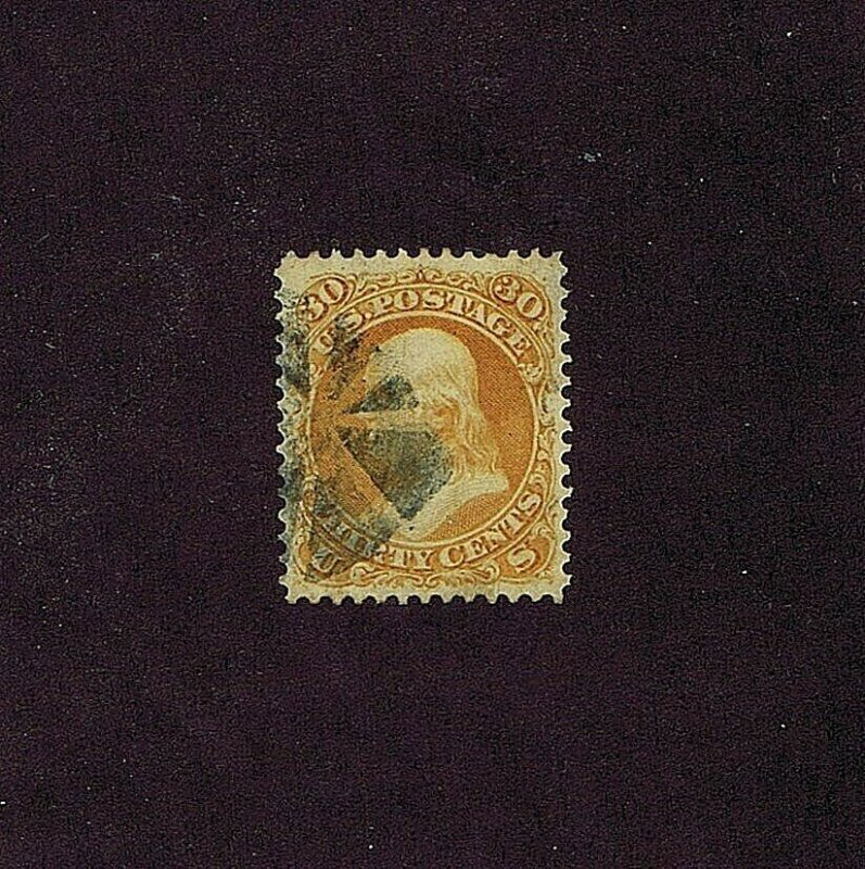 SC# 71 USED 30C FRANKLIN 1861, PARTIAL CORK CANCEL, 2020 PSAG CERT GRADED 85