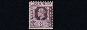 LEEWARD ISLANDS  1931 - 32  S G  86   6D  VALUE  MH  REVERSION TO DIE 1  TONED