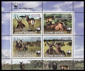 Guinea-Bissau WWF Defassa Waterbuck Miniature Sheet MI#3919-3922