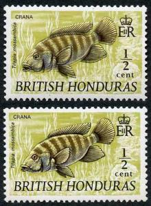 British Honduras SG277a 1969 1/2c Mozambique Mouthbrooder BLACK FANTASTIC SHIFT