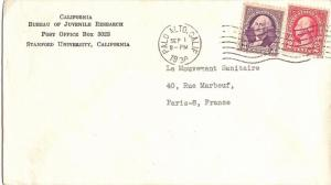 United States California Palo Alto 1938 machine  3c Washington 1934 and 2c Wa...