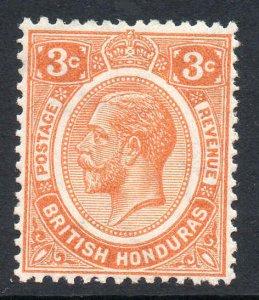 British Honduras 1922 KGV 3c orange wmk MSCA SG 129 mint