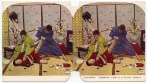 Japan - Ephemera Colour Stereoscopic Card - Japanese Boys in  Lively Quarrel VF