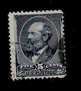 US 1887 Sc # 216 5 cent Garfield  Used* H  -  Light Cancel -